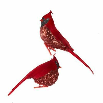 New Red Feather Glitter Cardinal Clip-On Ornament, 2