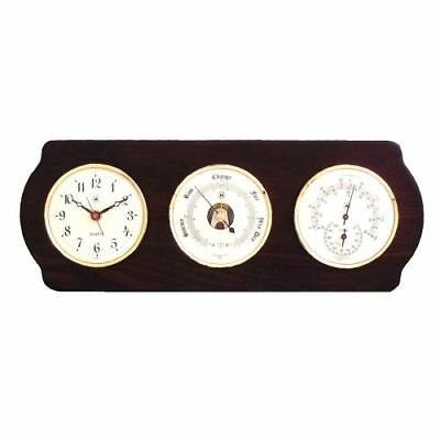 New Quartz Clock, Barometer & Thermometer With Hygrometer On Ash