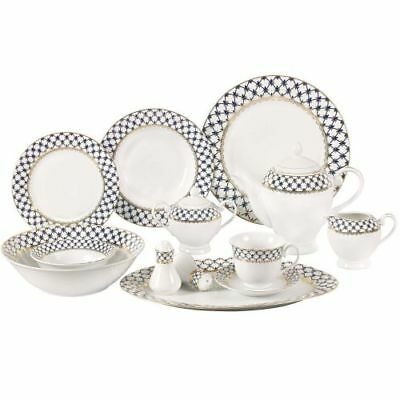 New Lorenzo 57 Piece Porcelain Dinnerware Set, Service For 8