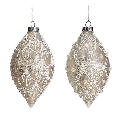 New Lace White And Silver Colored Glass Ornament - Set Of 2