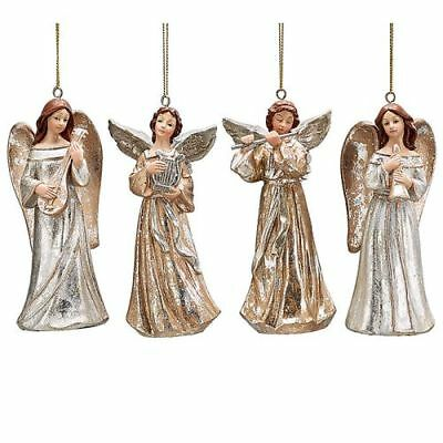 New 4 Assorted Angel With Musical Instrument Ornaments