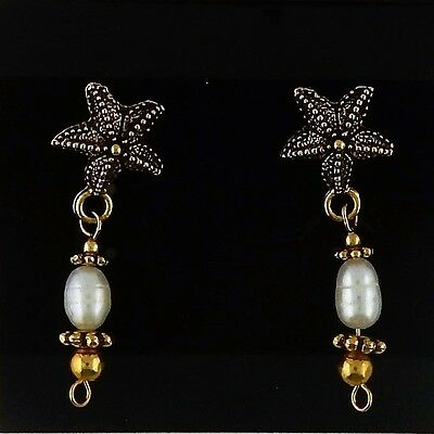 Gold Starfish Post Earrings with white pearls