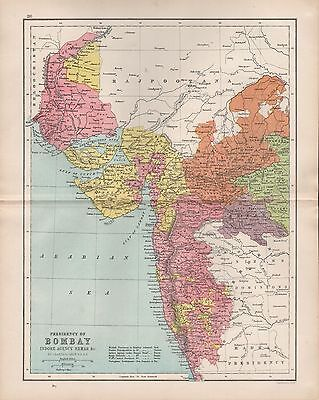 1875 Antique Map - India - Presidency Of Bombay Indore Agency Berar