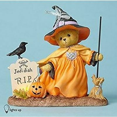 New Enesco Cherished Teddies Bear Witch with Broom, Lighted