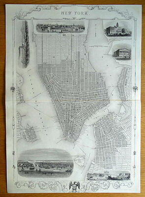 NEW YORK CITY Street Plan JOHN RAPKIN original antique illustrated map c1850