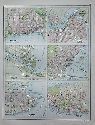 1900 Large Map Town Plans Toronto, Ottowa, Montreal, Niagara, Halifax, Quebec, 6