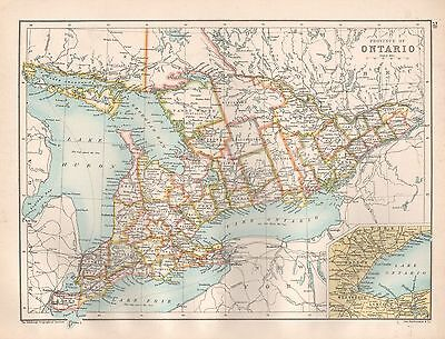 1900 Large Map Provinces Of Ontario And Quebec, 2 Sides Of One Page