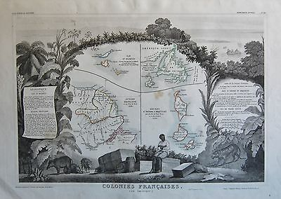 1856 Decorative Antique Map Levasseur-Colonies Francaises, En Amerique