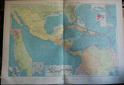 1915  Large Antique Mercantile Map - Central American And West Indian Ports