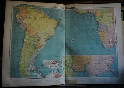 1915  Large Antique Mercantile Map - The South Atlantic Ocean