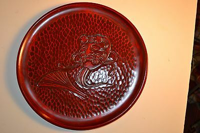"""VINTAGE JAPANESE RED LACQUERED WOOD TRAY 12"""" JAPAN MADE Beautiful"""