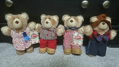 1986 Wendy's FURSKINS Bears Set of 4 -2 With Original Tags Collectible Fast Food
