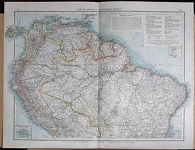 """1900 """"times""""  Large Antique Map - South America Northern Inset Galapagos Islands"""
