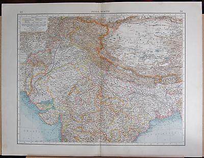 "1900 ""times""  Large Antique Map - India North Calcutta Bombay Amritsar"