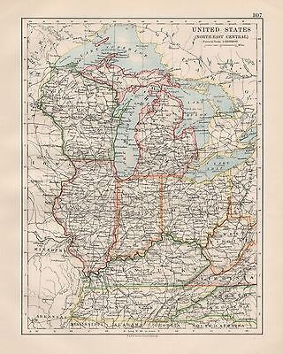 1920 Vintage Map- United States, North East Central