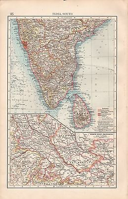 "1900 ""times""  Large Antique Map - India South, Sri Lanka, North West Provinces"