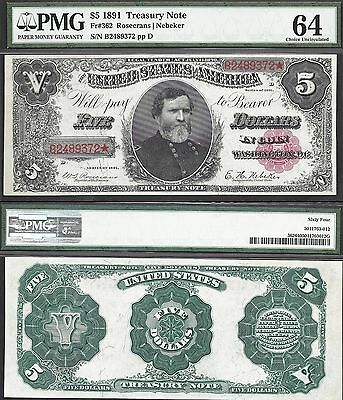 $5 1891=TREASURY NOTE=THOMAS=RED SEAL=Fr. 362=UNION ARMY GENERAL=PMG Ch Unc 64