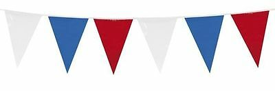 Plastic Bunting RED WHITE BLUE Union Jack GREAT BRITAIN Garden Street Party 10m