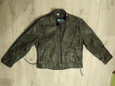 Vintage genuine leather black jacket coat men's LARGE biker motorcycle xelement