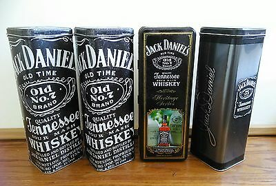 Lot Of 4 Empty Jack Daniels Whiskey Collector Metal Tin Can Box (No. 7 Brand)