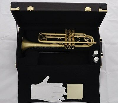 High Grade Matt Brass JINBAO Trumpet horn Monel Valves Leather Case 2 Mouthpiece