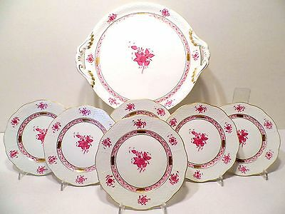 Herend Chinese Bouquet Raspberry Dessert Set For Six,mint Condition,seven Pieces