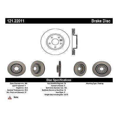 Centric Parts 121.22011 Front Disc Brake Rotor