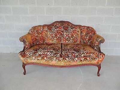 "French Louis XV Style Settee Sofa Vintage Walnut Frame 60""W"