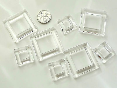 8 Clear Square Plastic Craft Rings 4 x 32 mm, 4 x 20 mm