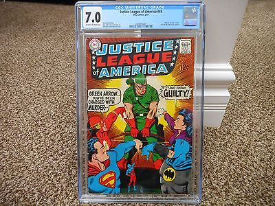 Justice League of America 69 cgc 7.0 DC 1969 ow/w pages Green Arrow Flash Batman