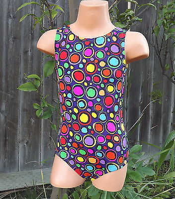 Girls Groovy Purple Multi Color Dance Gymnastics Leotard NWT 2t 3t 4t 5t