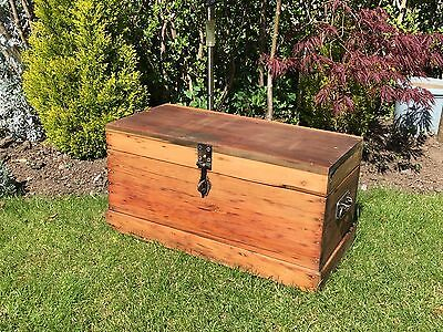 Small Pine Tool Chest Antique Kist Blanket Box Wooden Victorian