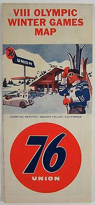 1960 Union 76 Gas Station Map VIII Winter Olympics Squaw Valley Lake Tahoe CA