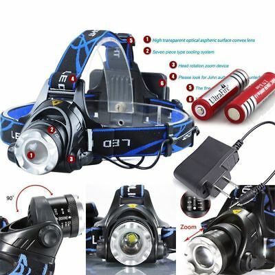 90000LM Rechargeable Head light T6 LED Tactical Headlamp Zoomable +Charger+18650