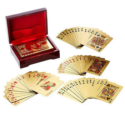 Gold Foil Plated Deck of Playing Cards - 1 Pack of 52 Cards with Display Box