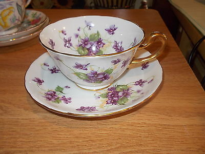 ROYAL CHELSEA Bone China Cup & Saucer - Bunches of Violets