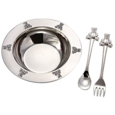 New Silverplated Baby Bear Bowl, Silver Platedoon, Fork Set