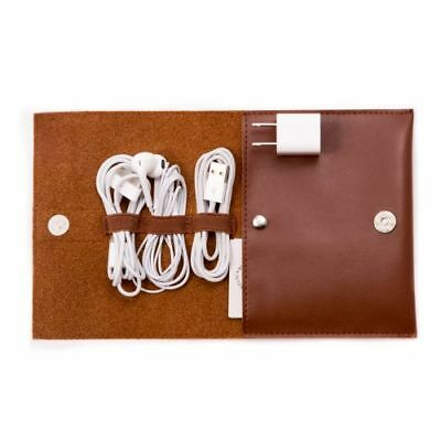 New Brown Leatherette Travel Charger Case & Accessories Pouch