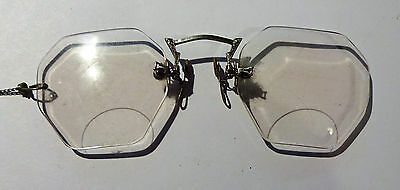 Antique 10K Pince Nez Chain Black Case Rimless Spectacles Eye Glasses NO RESERVE