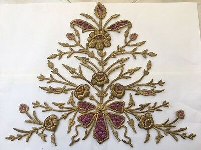 Huge Pc Antique Ottoman Turkish Gold Metallic Hand Embroidery For Applique