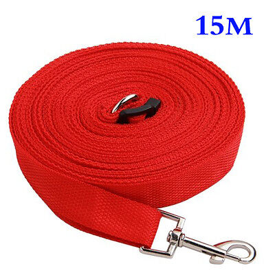 Red 50ft/15m Long Dog Pet Puppy Training Obedience Lead Leash ED