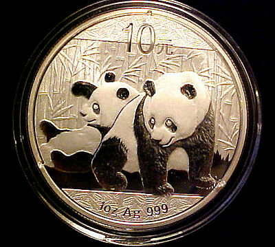 2010 China PANDA 10 YUAN ~ One Oz. .999 Fine Silver ~ In Capsule ~ 62YM