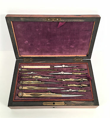 Antique Brass Drawing Drafting Instrument Set Rosewood Box Case~Victorian 19th C