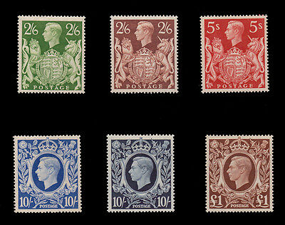 1939 King George VI 2/6 - £1 full set of six, very fine unmounted mint