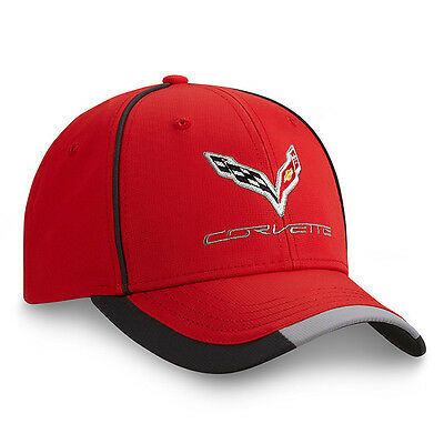 C7 Corvette Red Performance Hat Embroidered Polyester