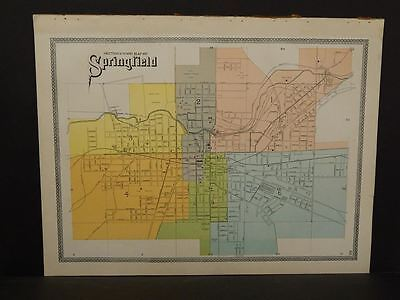 Ohio Clark County Map Springfield Sections & Wards 1-6  1894    R5#53