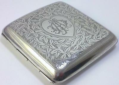 Antique hallmarked Sterling Silver Cigarette / Card Case – Chester 1910  (108g)