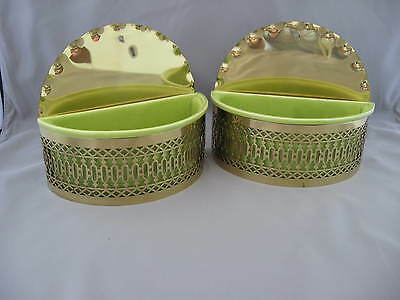 Vintage Chartreuse Pottery Wall Planters w/Filigree Holders