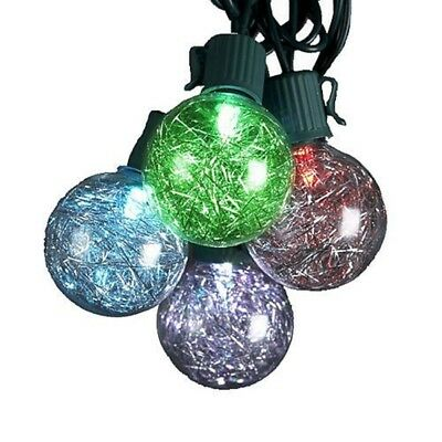 New Kurt Adler 10/L G40 Silver Tinsel Balls Led Light Set