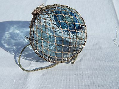 "Blue Vintage Japanese Fishing Float with UNIQUE Net BLUE EYE Seal. 3 1/2"". LOT 1"